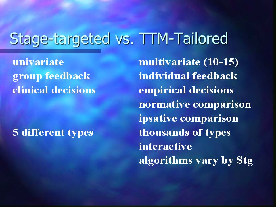 Stage-targeted vs. TTM-Tailored