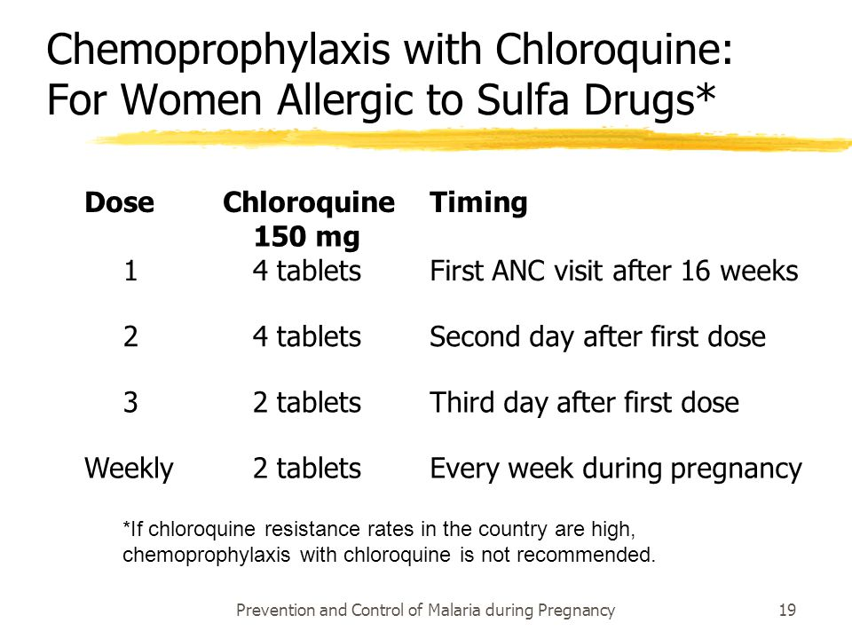 Prevention and Control of Malaria during Pregnancy19 Chemoprophylaxis with Chloroquine: For Women Allergic to Sulfa Drugs* Dose Chloroquine 150 mg Tim