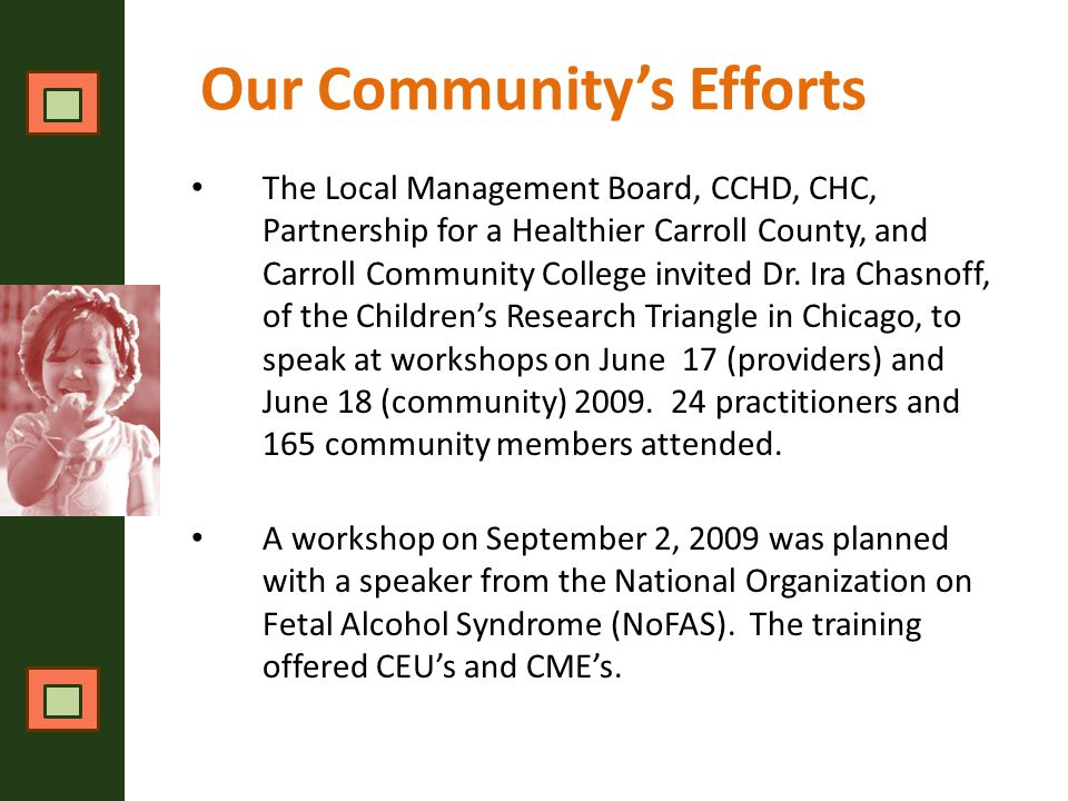 Carroll County SART Plan Three Guiding Concerns This plan depends on dynamic balance of three guiding concerns:  The health and well-being of children and families affected by alcohol, tobacco, and illicit drugs; depression; and domestic violence  The success of care providers; and  The responsible allocation of resources