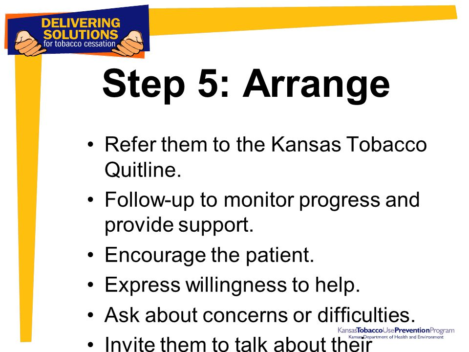 Step 5: Arrange Refer them to the Kansas Tobacco Quitline. Follow-up to monitor progress and provide support. Encourage the patient. Express willingne