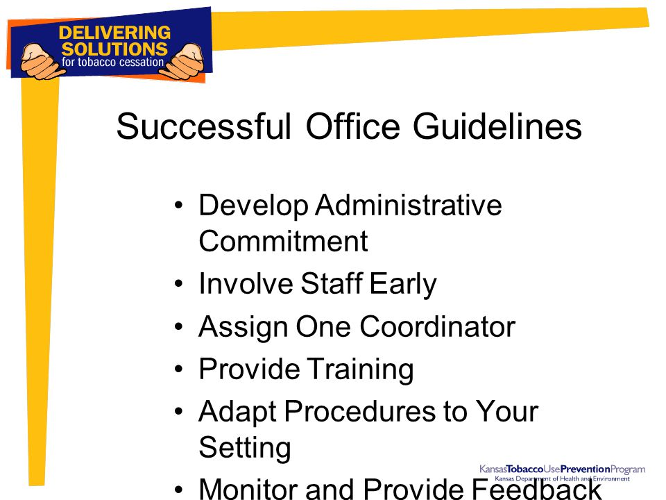 Successful Office Guidelines Develop Administrative Commitment Involve Staff Early Assign One Coordinator Provide Training Adapt Procedures to Your Setting Monitor and Provide Feedback