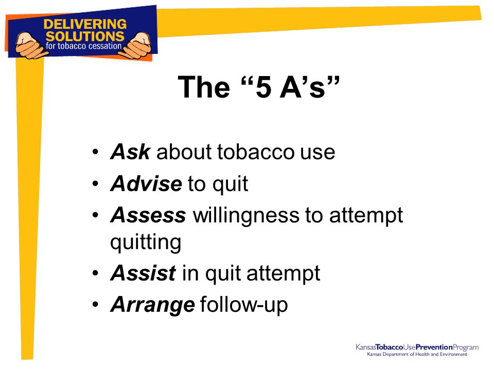 """The """"5 A's"""" Ask about tobacco use Advise to quit Assess willingness to attempt quitting Assist in quit attempt Arrange follow-up"""
