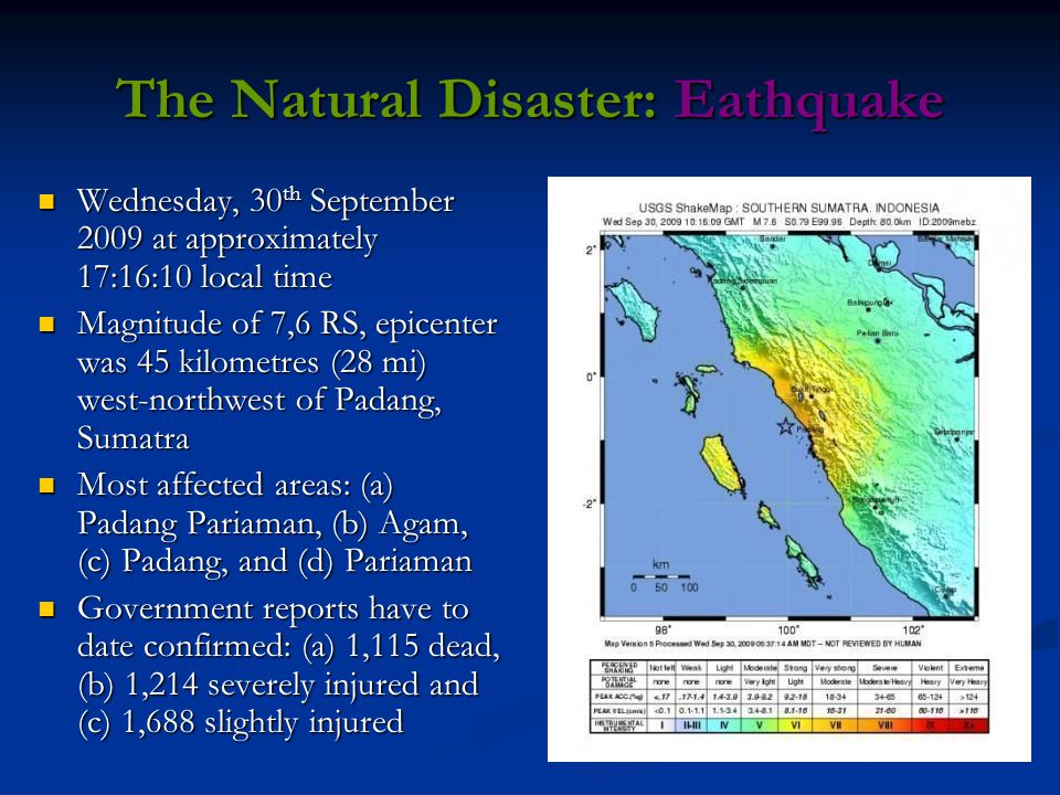 The Natural Disaster: Eathquake Wednesday, 30 th September 2009 at approximately 17:16:10 local time Wednesday, 30 th September 2009 at approximately 17:16:10 local time Magnitude of 7,6 RS, epicenter was 45 kilometres (28 mi) west-northwest of Padang, Sumatra Magnitude of 7,6 RS, epicenter was 45 kilometres (28 mi) west-northwest of Padang, Sumatra Most affected areas: (a) Padang Pariaman, (b) Agam, (c) Padang, and (d) Pariaman Most affected areas: (a) Padang Pariaman, (b) Agam, (c) Padang, and (d) Pariaman Government reports have to date confirmed: (a) 1,115 dead, (b) 1,214 severely injured and (c) 1,688 slightly injured Government reports have to date confirmed: (a) 1,115 dead, (b) 1,214 severely injured and (c) 1,688 slightly injured