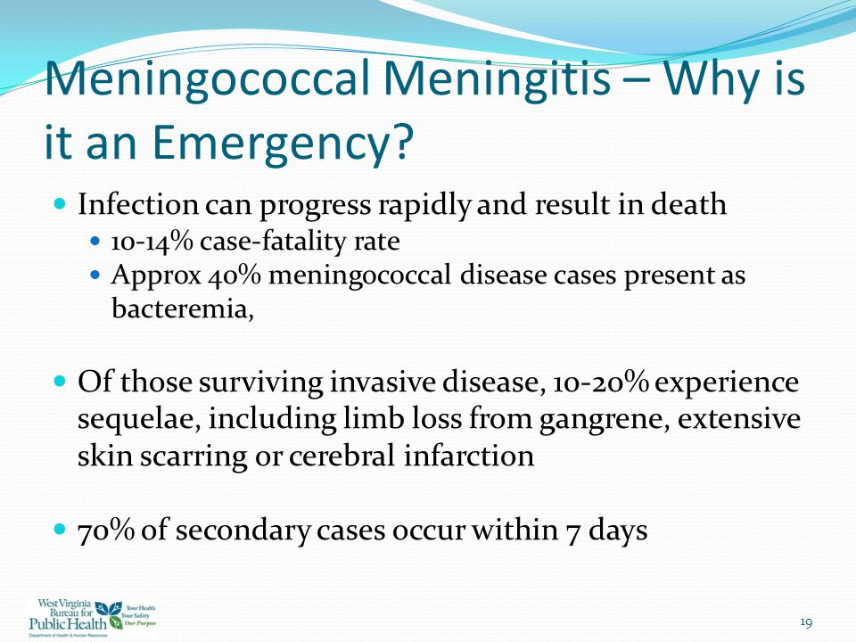 Meningococcal Meningitis – Why is it an Emergency? Infection can progress rapidly and result in death 10-14% case-fatality rate Approx 40% meningococc