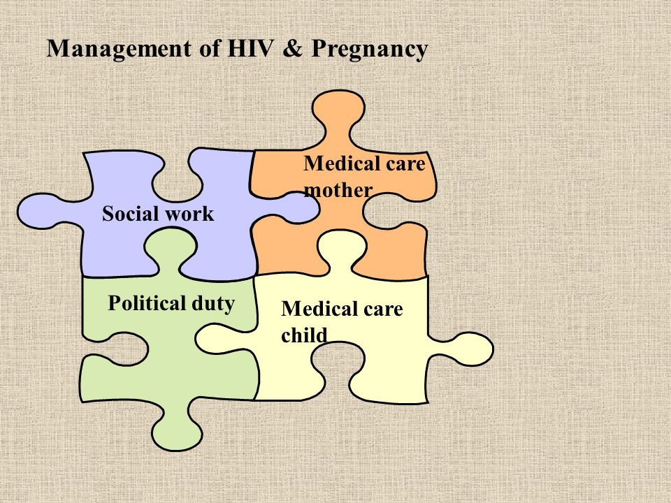 Management of HIV & Pregnancy Social work Medical care mother Political duty Medical care child
