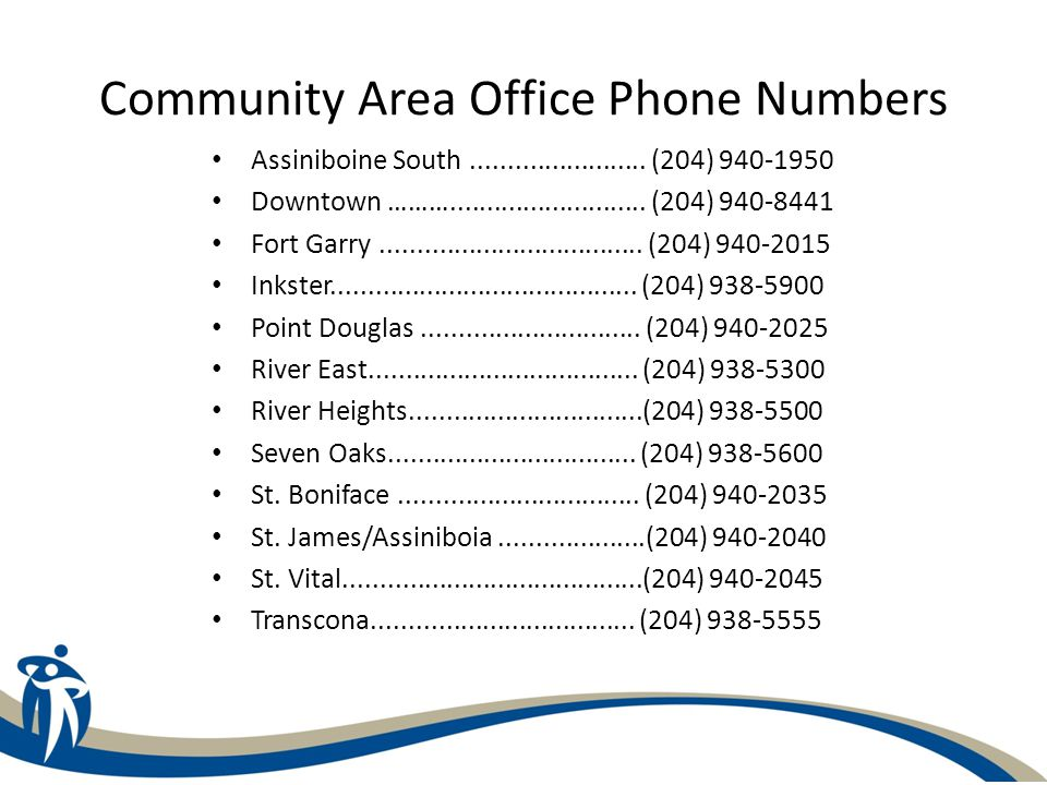 Community Area Office Phone Numbers Assiniboine South........................