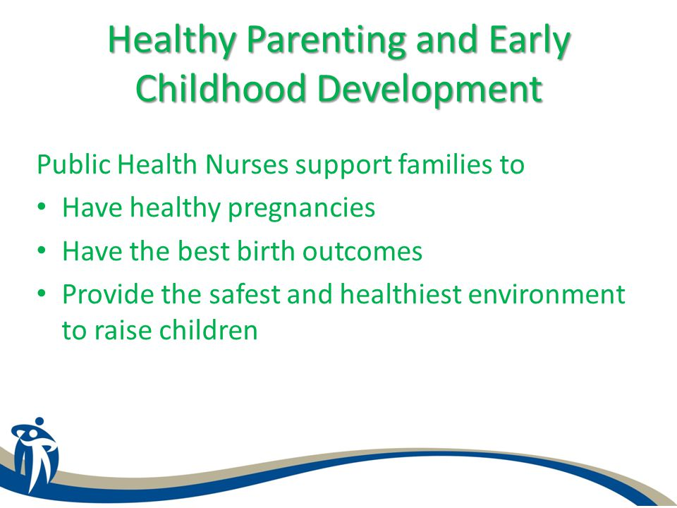 Healthy Parenting and Early Childhood Development Public Health Nurses support families to Have healthy pregnancies Have the best birth outcomes Provide the safest and healthiest environment to raise children