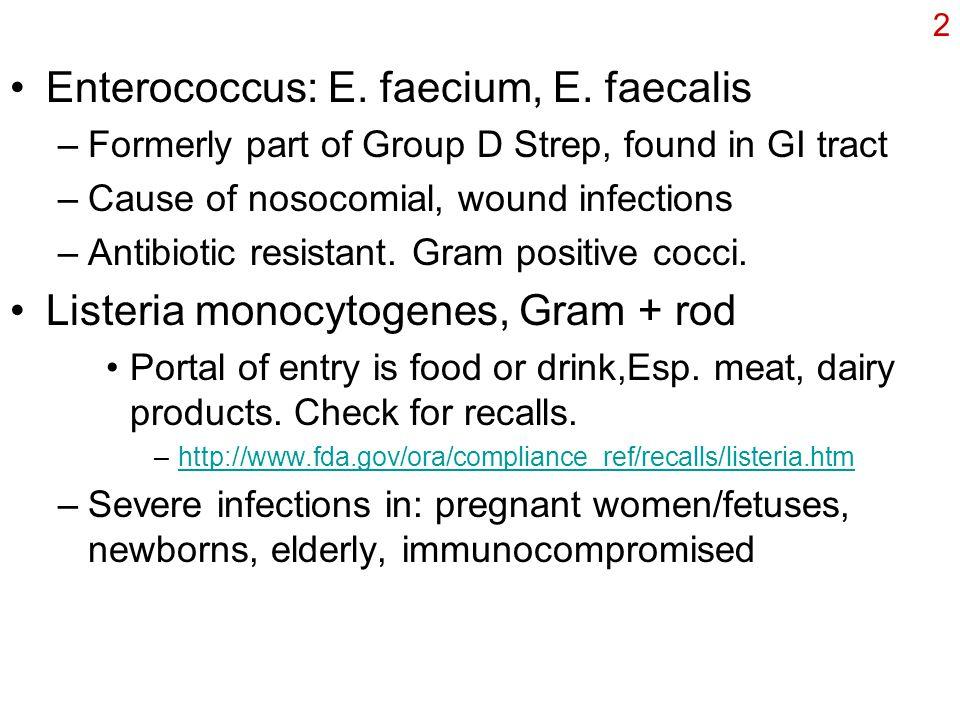 2 Enterococcus: E. faecium, E.