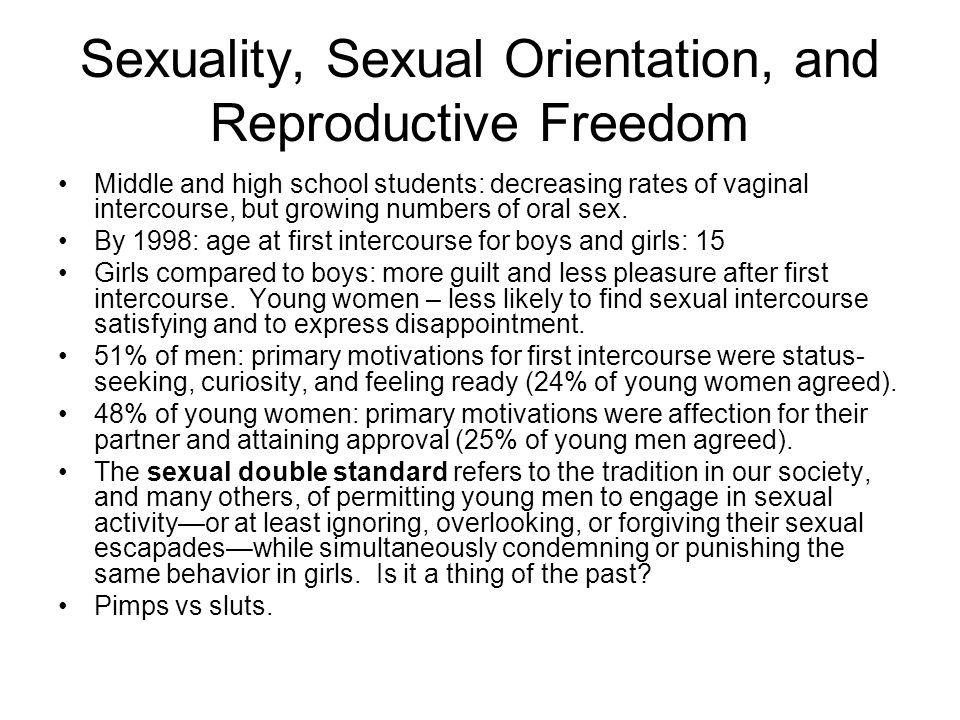 Sexuality, Sexual Orientation, and Reproductive Freedom Middle and high school students: decreasing rates of vaginal intercourse, but growing numbers