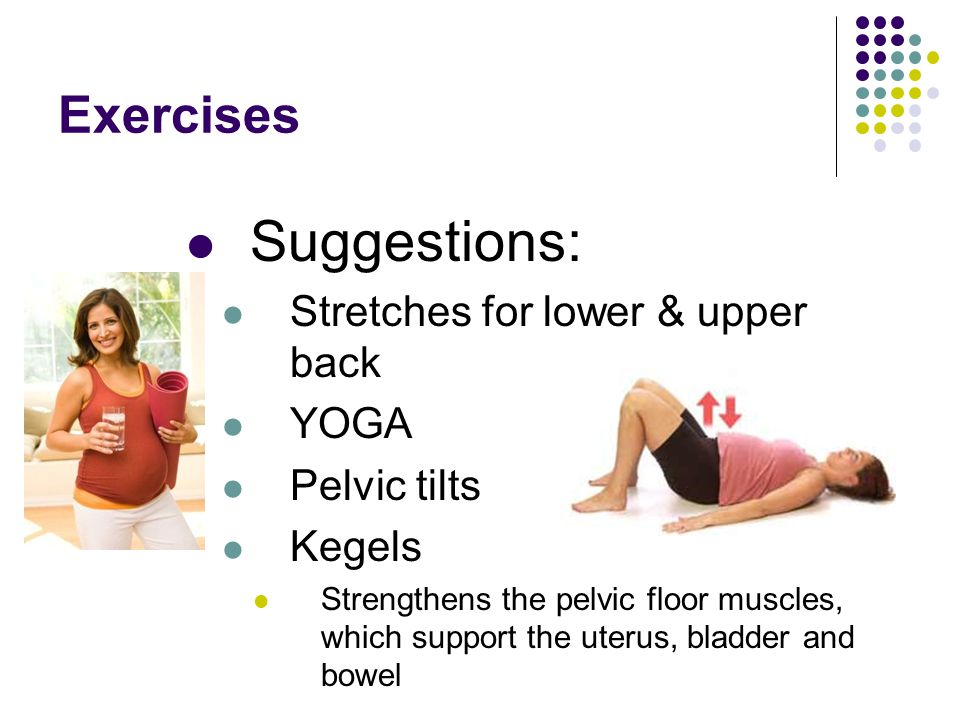 Exercises Suggestions: Stretches for lower & upper back YOGA Pelvic tilts Kegels Strengthens the pelvic floor muscles, which support the uterus, bladd