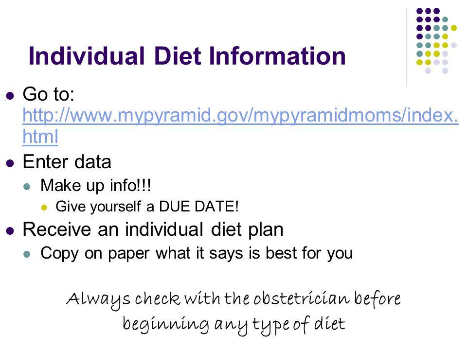 Individual Diet Information Go to: http://www.mypyramid.gov/mypyramidmoms/index. html http://www.mypyramid.gov/mypyramidmoms/index. html Enter data Ma