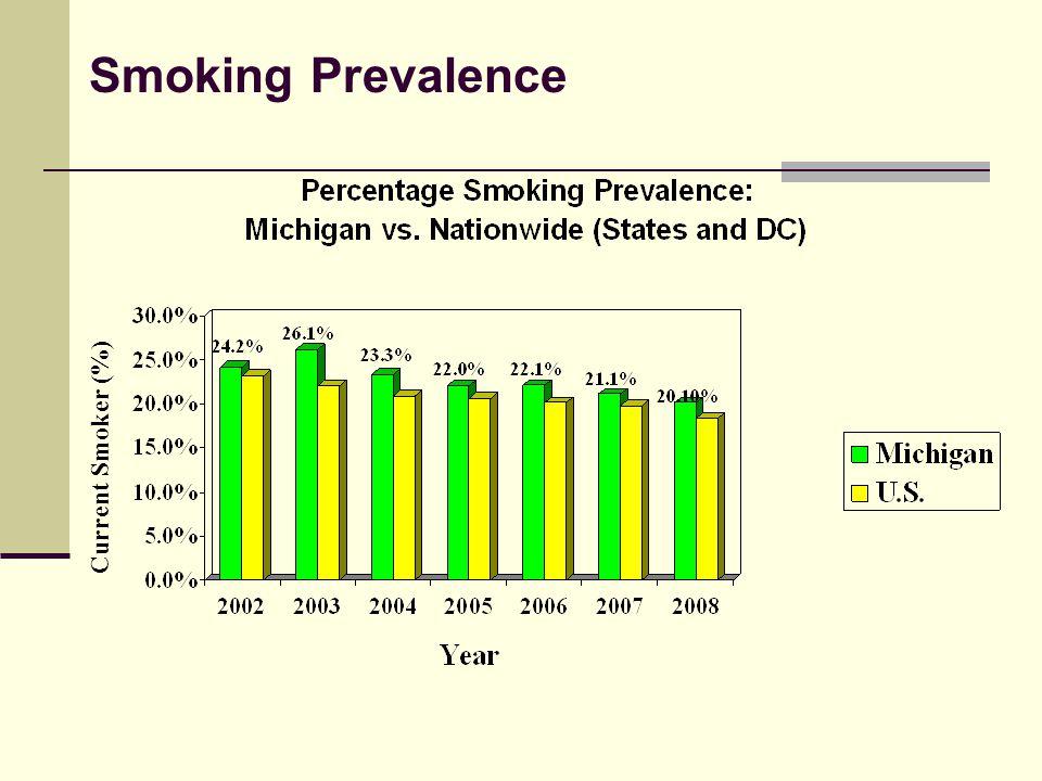Michigan Adult Smokers by Income, 2008 Current Smoker (%) Source: 2008 Michigan BRFSS