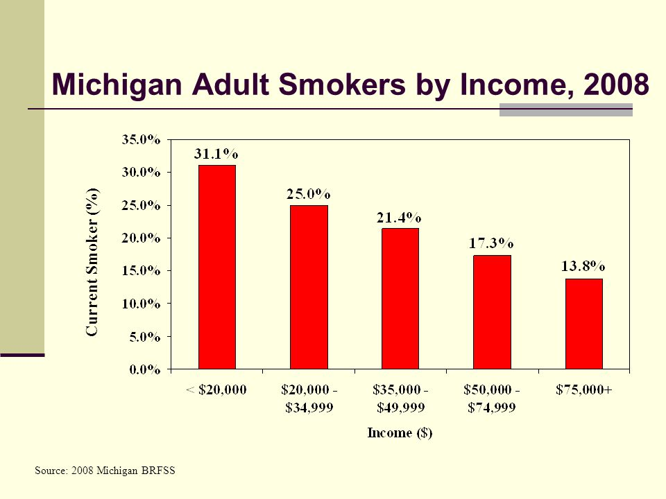 Michigan Adult Smokers by Income, 2008 Current Smoker (%) Source: 2008 Michigan BRFSS