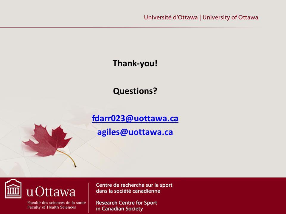 Thank-you! Questions fdarr023@uottawa.ca agiles@uottawa.ca
