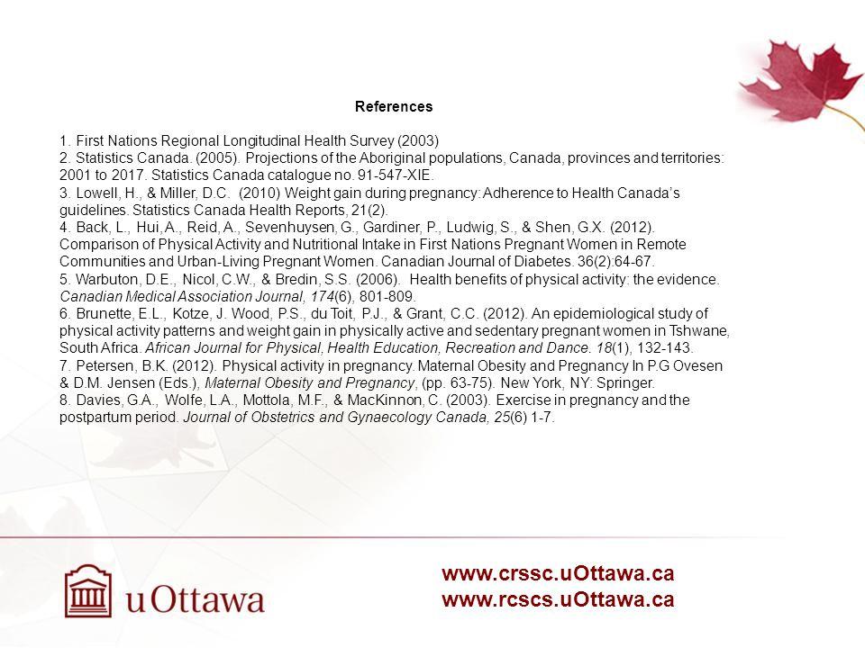 www.crssc.uOttawa.ca www.rcscs.uOttawa.ca References 1.