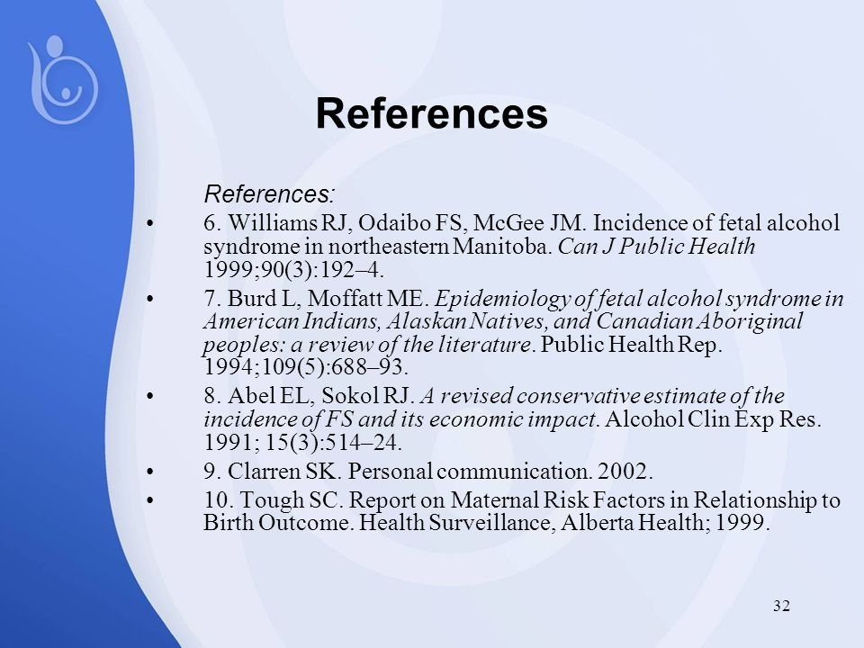 32 References References: 6. Williams RJ, Odaibo FS, McGee JM.