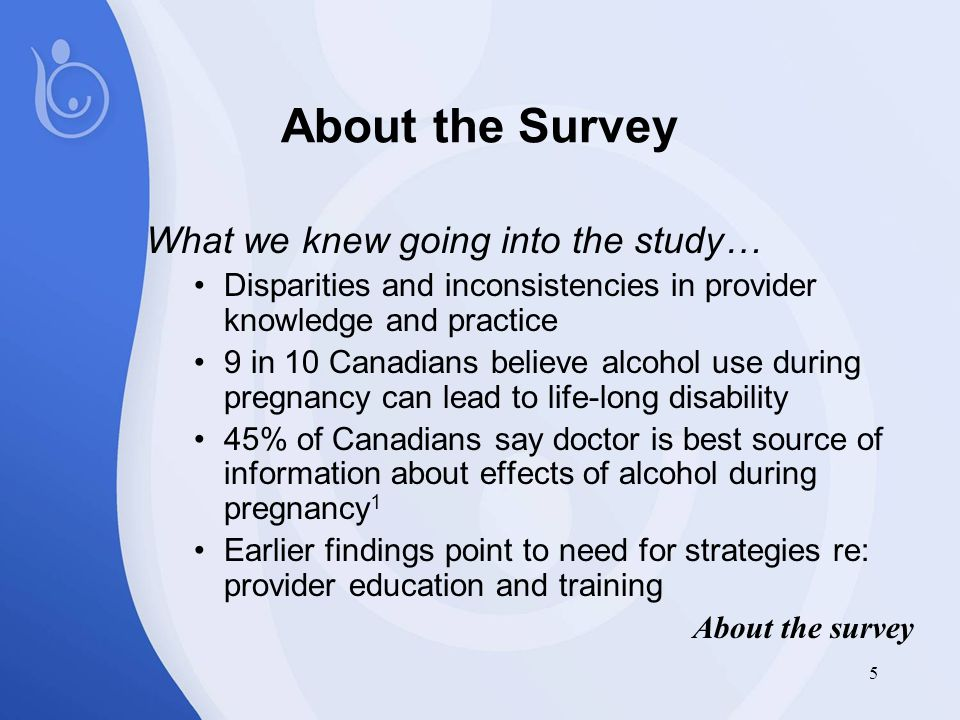 5 About the Survey What we knew going into the study… Disparities and inconsistencies in provider knowledge and practice 9 in 10 Canadians believe alcohol use during pregnancy can lead to life-long disability 45% of Canadians say doctor is best source of information about effects of alcohol during pregnancy 1 Earlier findings point to need for strategies re: provider education and training About the survey