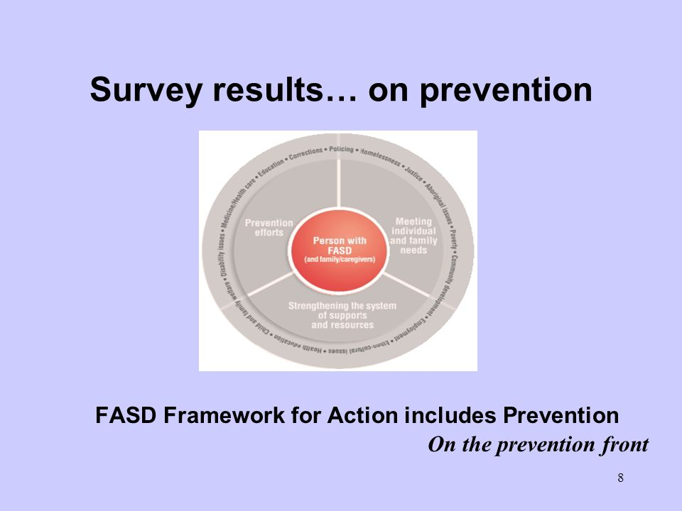 8 Survey results… on prevention FASD Framework for Action includes Prevention On the prevention front