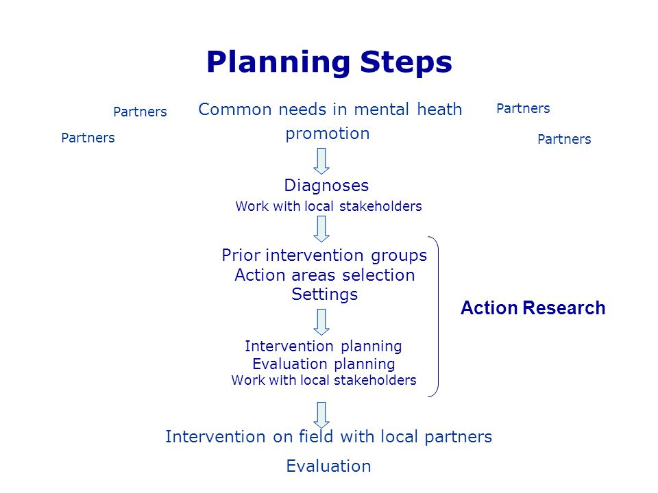 Planning Steps Intervention planning Evaluation planning Work with local stakeholders Diagnoses Work with local stakeholders Prior intervention groups
