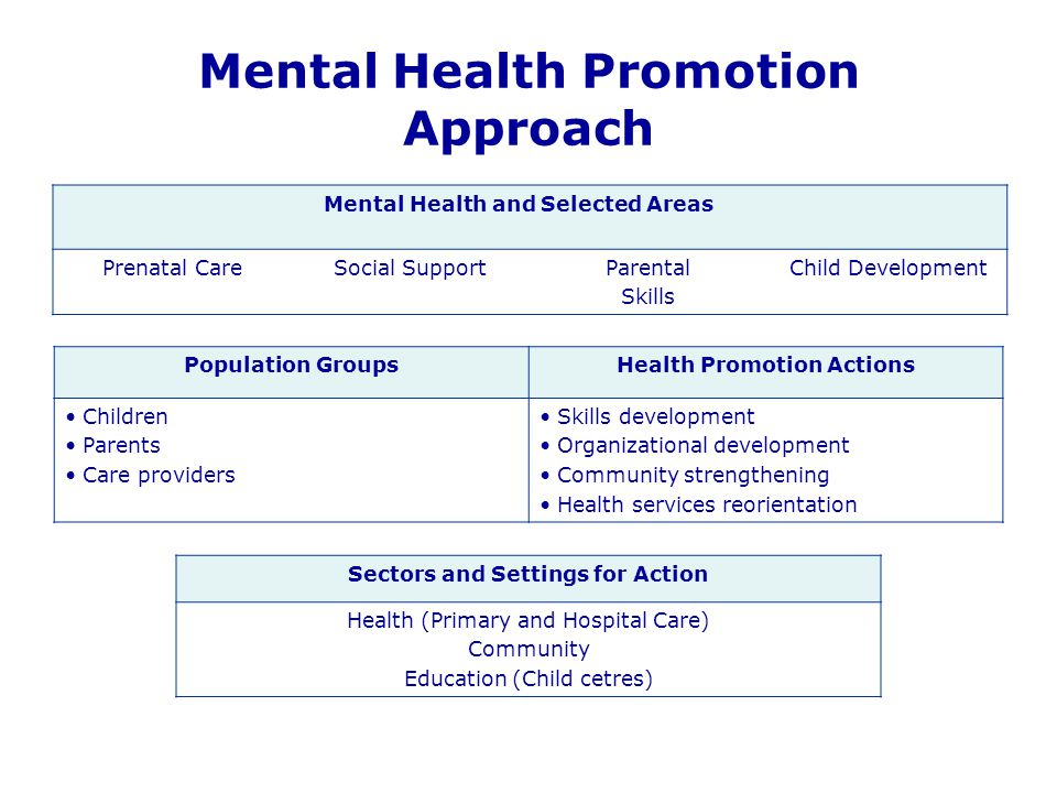 Mental Health Promotion Approach Mental Health and Selected Areas Prenatal CareSocial SupportParental Skills Child Development Population GroupsHealth