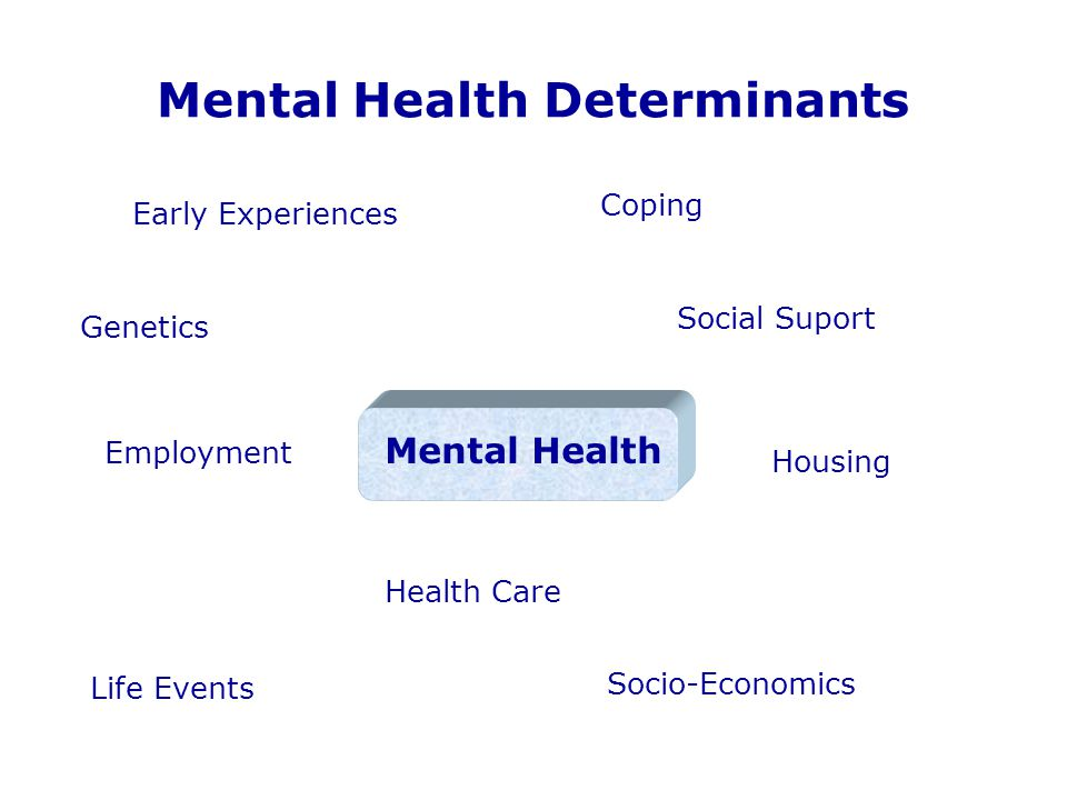 Mental Health Determinants Mental Health Genetics Early Experiences Life Events Coping Social Suport Housing Employment Socio-Economics Health Care