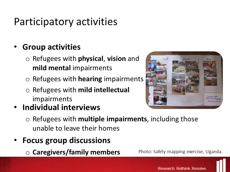 Participatory activities Group activities o Refugees with physical, vision and mild mental impairments o Refugees with hearing impairments o Refugees with mild intellectual impairments Research.