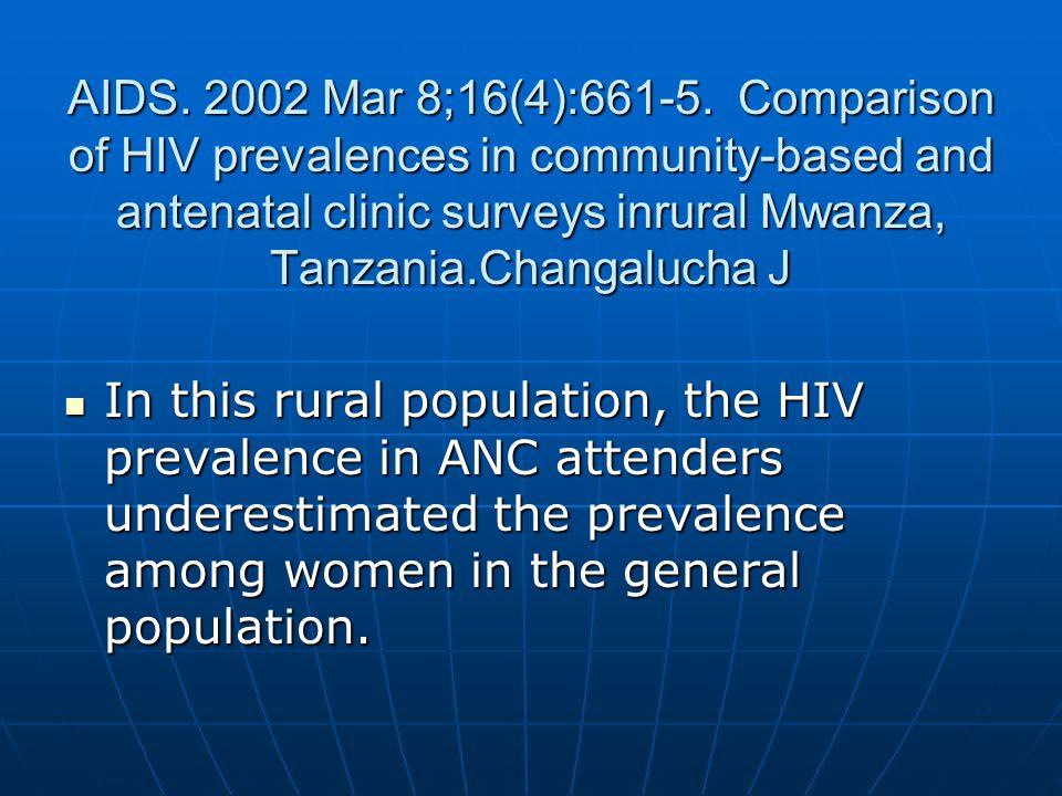 AIDS. 2002 Mar 8;16(4):661-5. Comparison of HIV prevalences in community-based and antenatal clinic surveys inrural Mwanza, Tanzania.Changalucha J In