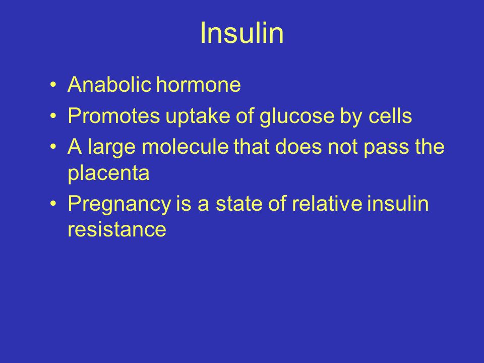 Insulin Anabolic hormone Promotes uptake of glucose by cells A large molecule that does not pass the placenta Pregnancy is a state of relative insulin resistance