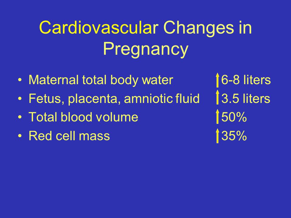 Cardiovascular Changes in Pregnancy Maternal total body water 6-8 liters Fetus, placenta, amniotic fluid 3.5 liters Total blood volume50% Red cell mass35%
