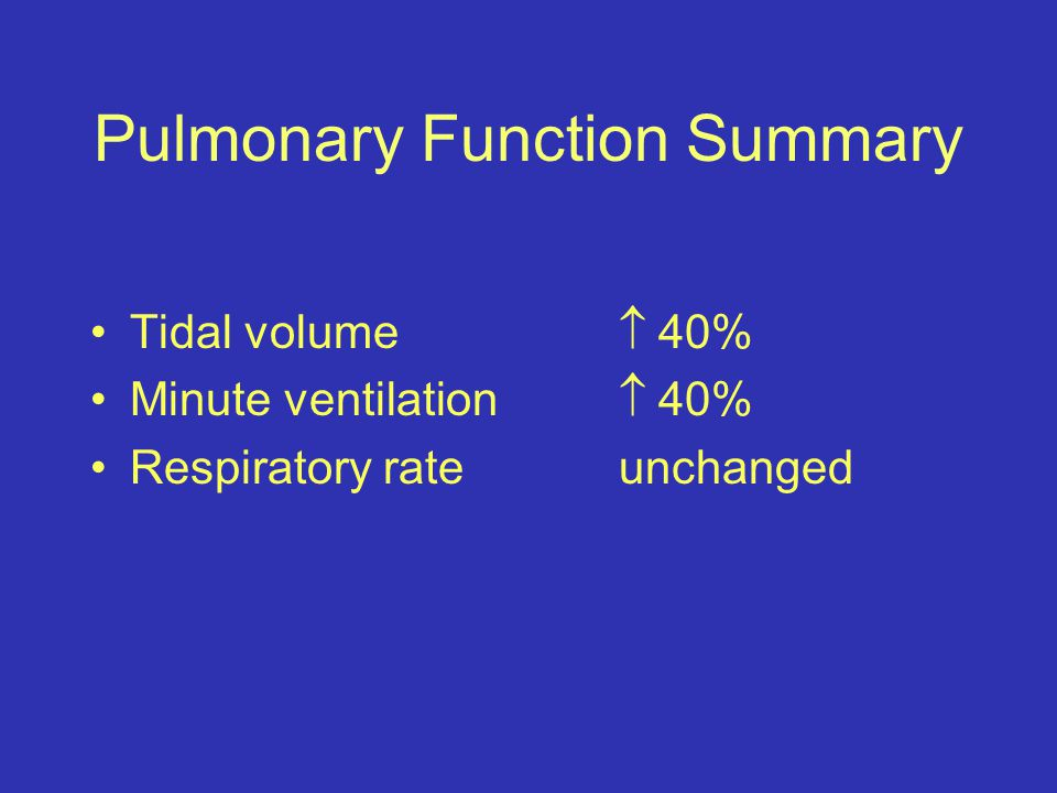 Pulmonary Function Summary Tidal volume  40% Minute ventilation  40% Respiratory rateunchanged