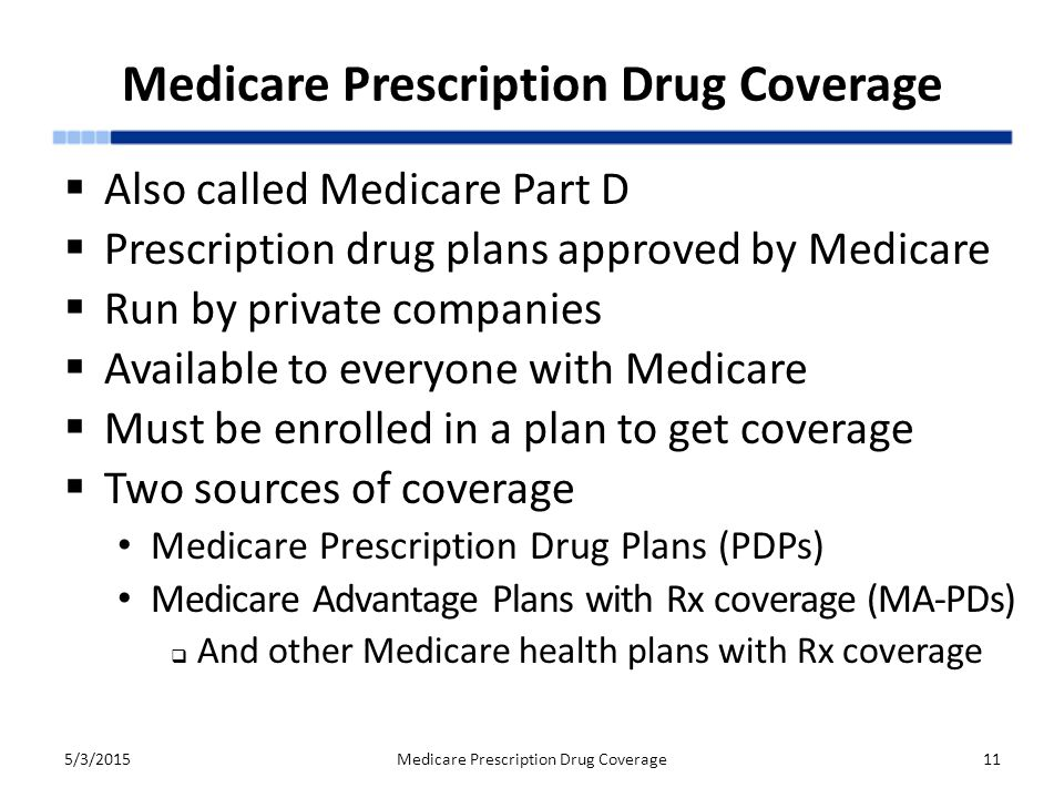 Medicare Prescription Drug Coverage  Also called Medicare Part D  Prescription drug plans approved by Medicare  Run by private companies  Available to everyone with Medicare  Must be enrolled in a plan to get coverage  Two sources of coverage Medicare Prescription Drug Plans (PDPs) Medicare Advantage Plans with Rx coverage (MA-PDs)  And other Medicare health plans with Rx coverage 5/3/2015Medicare Prescription Drug Coverage11