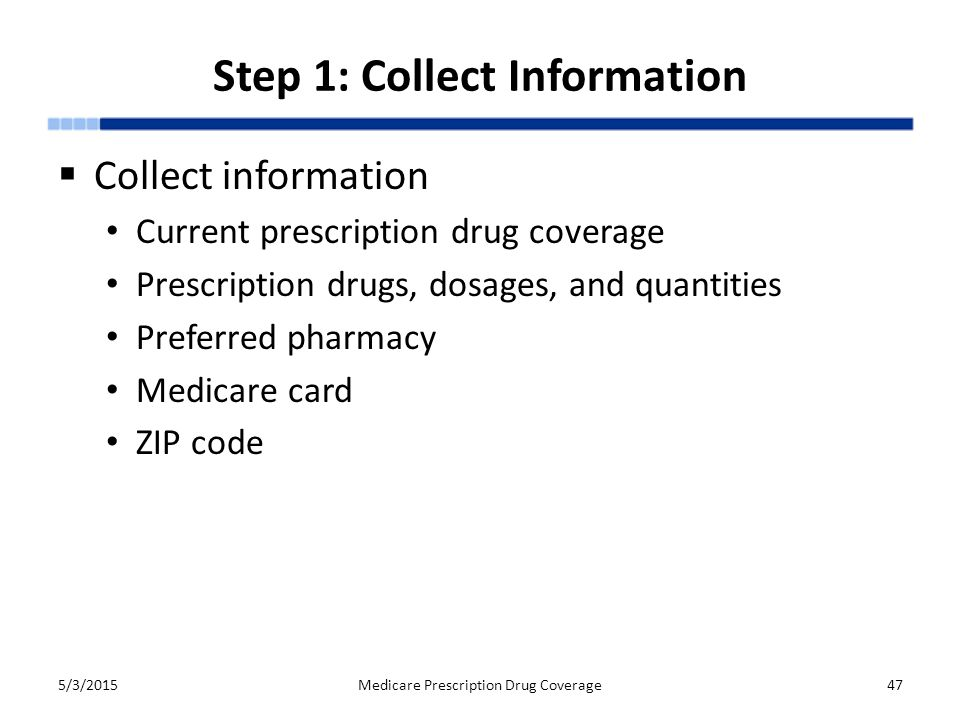 Step 1: Collect Information  Collect information Current prescription drug coverage Prescription drugs, dosages, and quantities Preferred pharmacy Medicare card ZIP code 5/3/2015Medicare Prescription Drug Coverage47