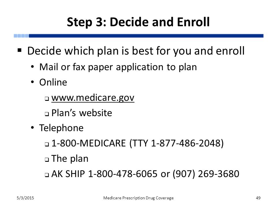 Step 3: Decide and Enroll  Decide which plan is best for you and enroll Mail or fax paper application to plan Online  www.medicare.gov www.medicare.gov  Plan's website Telephone  1-800-MEDICARE (TTY 1-877-486-2048)  The plan  AK SHIP 1-800-478-6065 or (907) 269-3680 5/3/2015Medicare Prescription Drug Coverage49