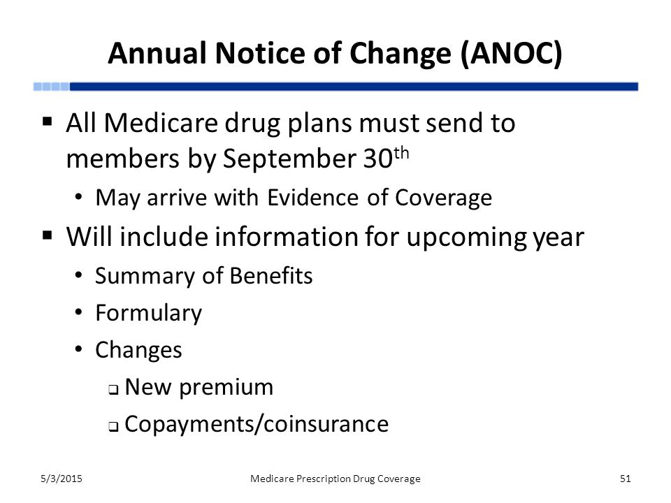 Annual Notice of Change (ANOC)  All Medicare drug plans must send to members by September 30 th May arrive with Evidence of Coverage  Will include information for upcoming year Summary of Benefits Formulary Changes  New premium  Copayments/coinsurance 5/3/2015Medicare Prescription Drug Coverage51