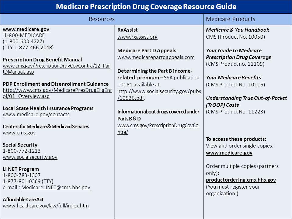 5/3/2015Medicare Prescription Drug Coverage56 Medicare Prescription Drug Coverage Resource Guide ResourcesMedicare Products www.medicare.gov 1-800-MED