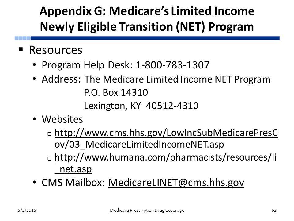 Appendix G: Medicare's Limited Income Newly Eligible Transition (NET) Program 5/3/2015Medicare Prescription Drug Coverage62  Resources Program Help D