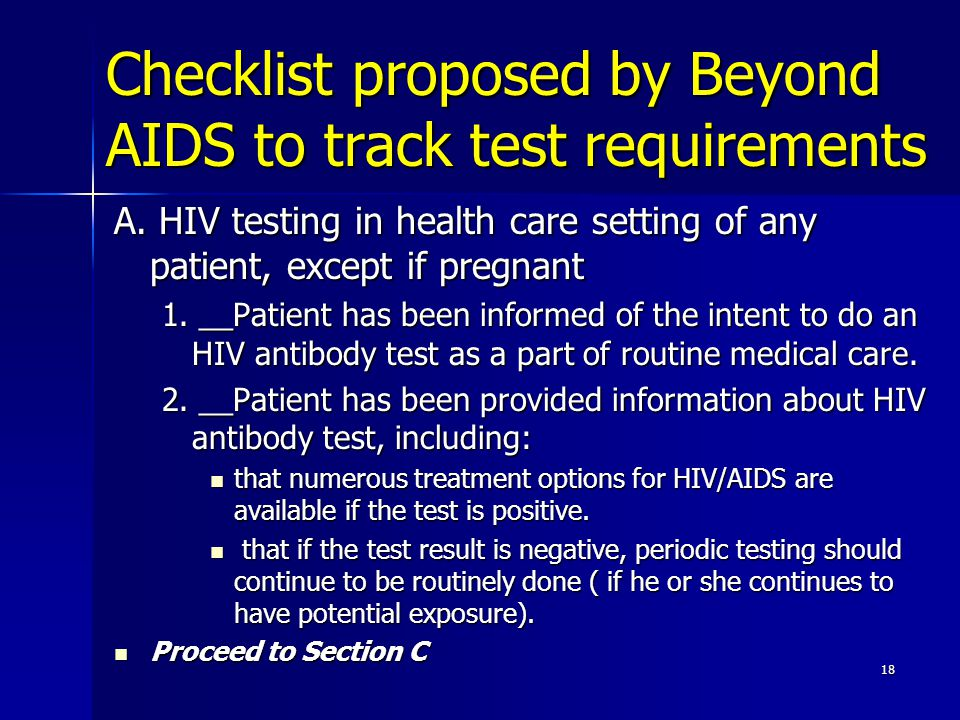 Checklist proposed by Beyond AIDS to track test requirements A.
