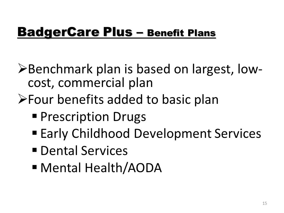 15  Benchmark plan is based on largest, low- cost, commercial plan  Four benefits added to basic plan  Prescription Drugs  Early Childhood Development Services  Dental Services  Mental Health/AODA BadgerCare Plus – Benefit Plans