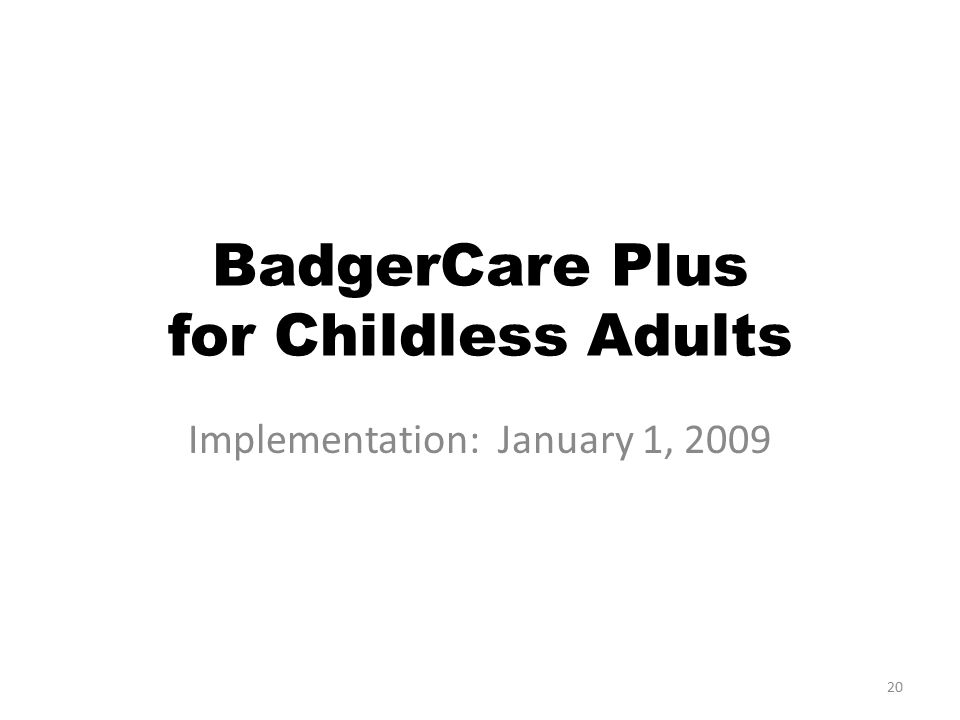 20 BadgerCare Plus for Childless Adults Implementation: January 1, 2009