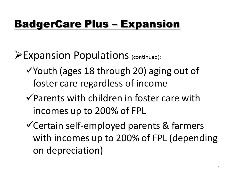 7  Expansion Populations (continued): Youth (ages 18 through 20) aging out of foster care regardless of income Parents with children in foster care with incomes up to 200% of FPL Certain self-employed parents & farmers with incomes up to 200% of FPL (depending on depreciation) BadgerCare Plus – Expansion