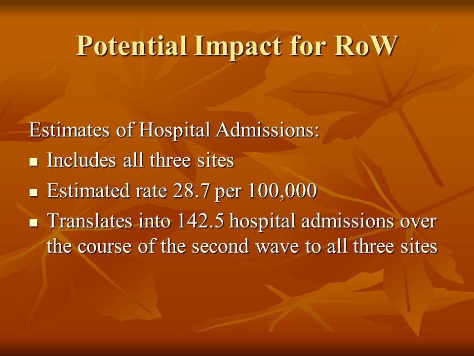 Potential Impact for RoW Estimates of Hospital Admissions: Includes all three sites Includes all three sites Estimated rate 28.7 per 100,000 Estimated rate 28.7 per 100,000 Translates into 142.5 hospital admissions over the course of the second wave to all three sites Translates into 142.5 hospital admissions over the course of the second wave to all three sites