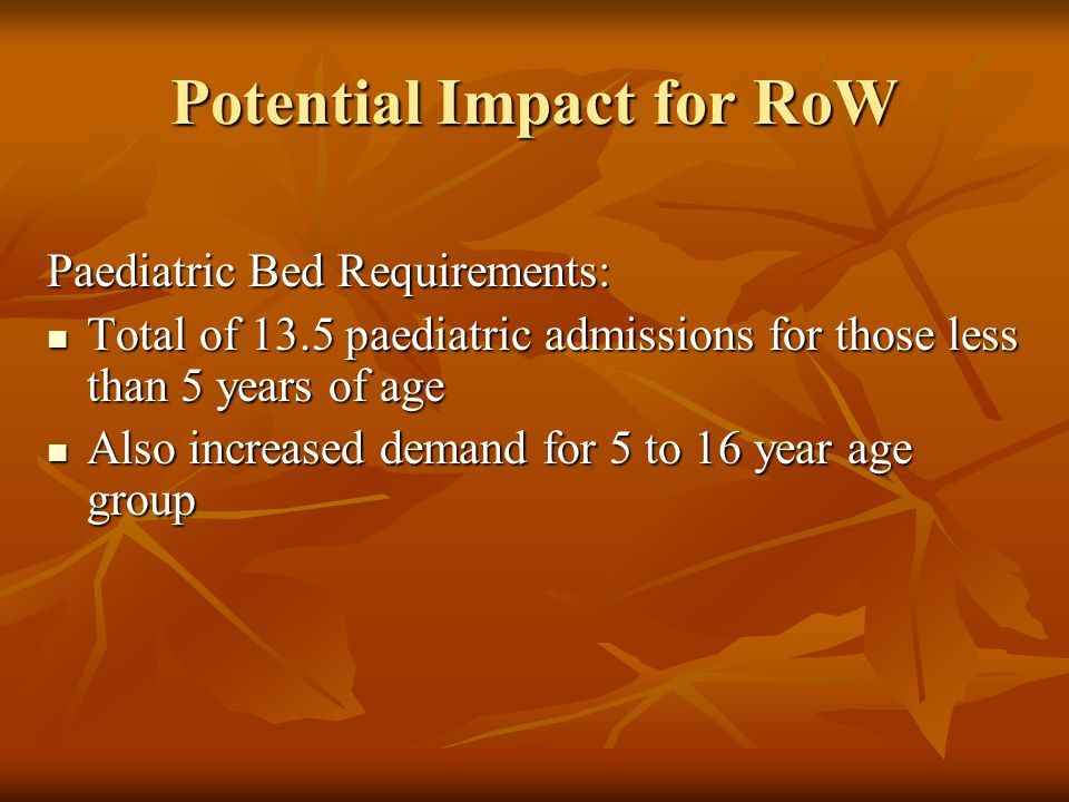 Potential Impact for RoW Paediatric Bed Requirements: Total of 13.5 paediatric admissions for those less than 5 years of age Total of 13.5 paediatric admissions for those less than 5 years of age Also increased demand for 5 to 16 year age group Also increased demand for 5 to 16 year age group