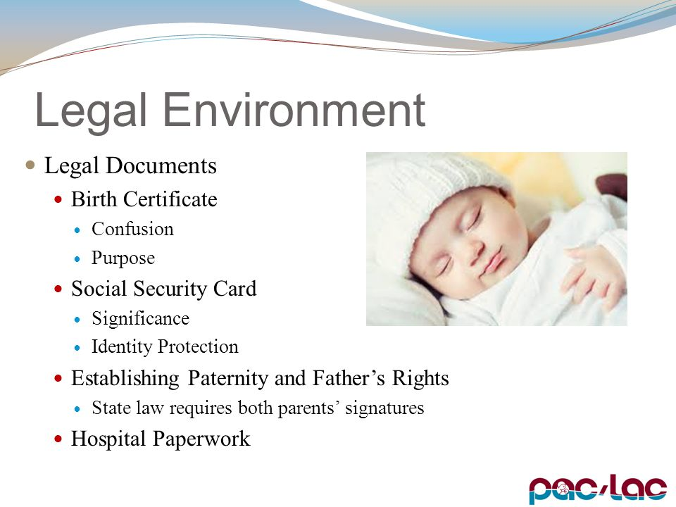 Legal Environment Legal Documents Birth Certificate Confusion Purpose Social Security Card Significance Identity Protection Establishing Paternity and Father's Rights State law requires both parents' signatures Hospital Paperwork