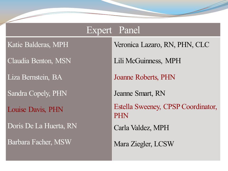 Expert Panel Katie Balderas, MPH Claudia Benton, MSN Liza Bernstein, BA Sandra Copely, PHN Louise Davis, PHN Doris De La Huerta, RN Barbara Facher, MS
