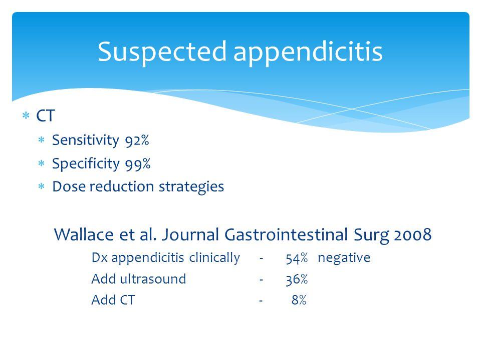  CT  Sensitivity 92%  Specificity 99%  Dose reduction strategies Wallace et al. Journal Gastrointestinal Surg 2008 Dx appendicitis clinically - 54