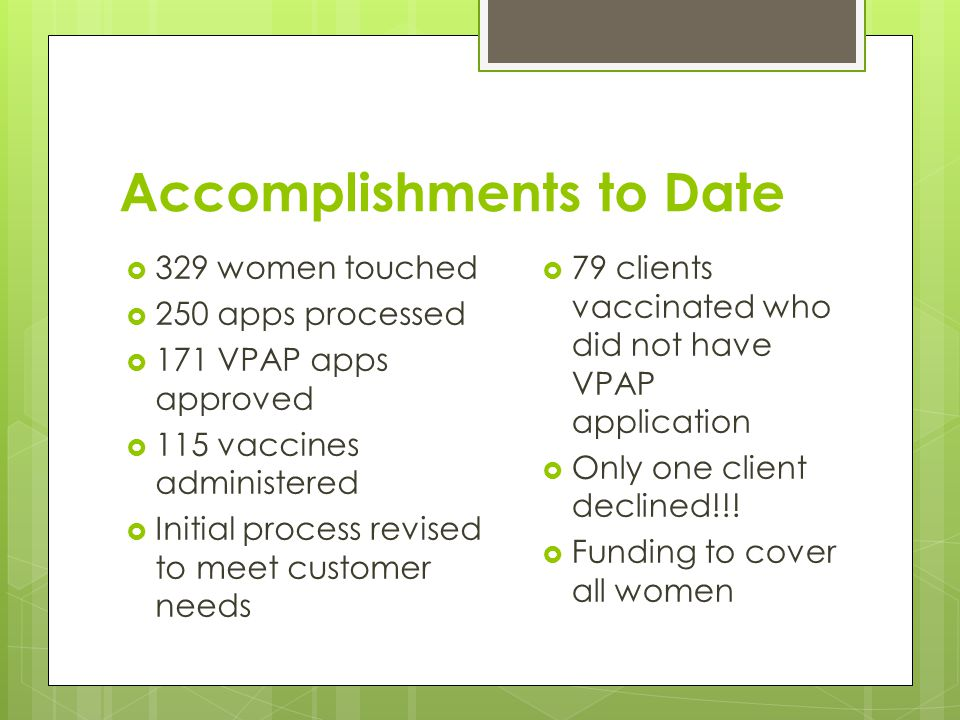 Accomplishments to Date  329 women touched  250 apps processed  171 VPAP apps approved  115 vaccines administered  Initial process revised to meet customer needs  79 clients vaccinated who did not have VPAP application  Only one client declined!!.