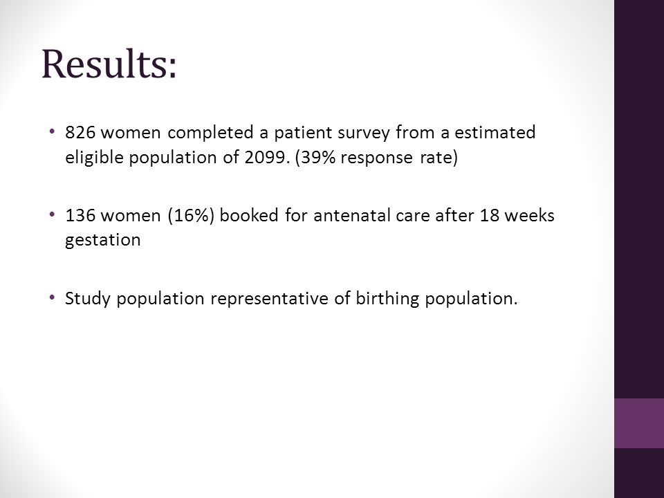 Results: 826 women completed a patient survey from a estimated eligible population of 2099.