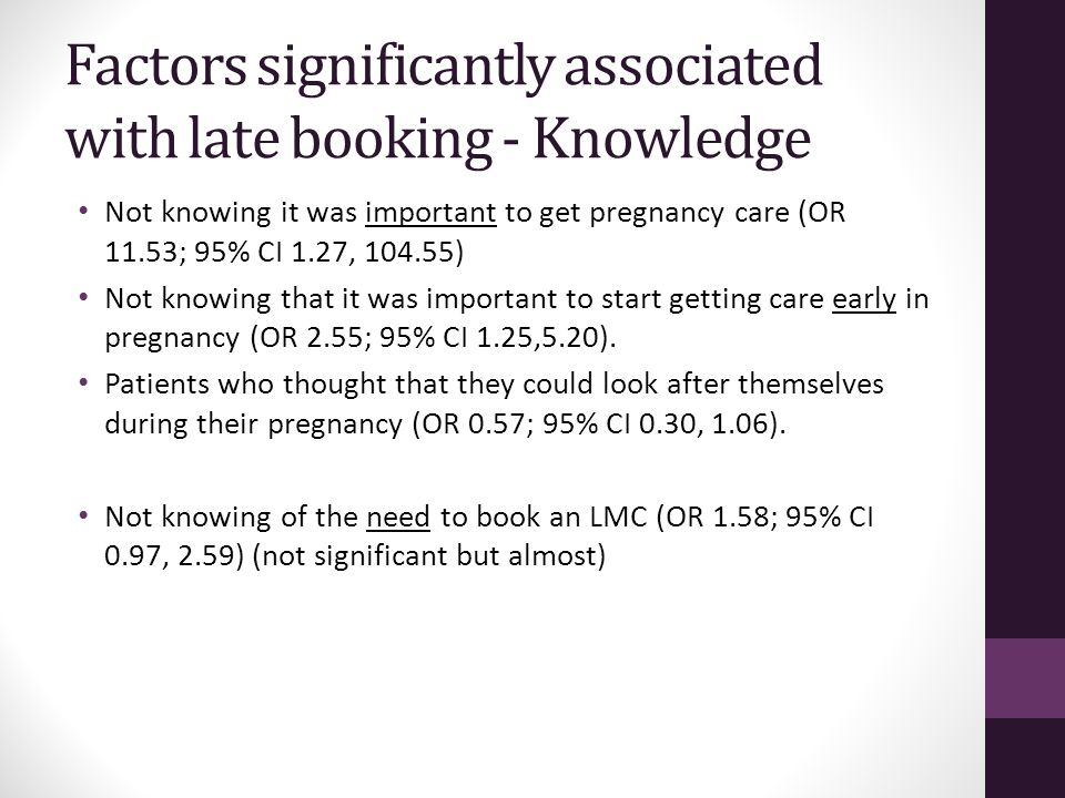 Factors significantly associated with late booking - Knowledge Not knowing it was important to get pregnancy care (OR 11.53; 95% CI 1.27, 104.55) Not knowing that it was important to start getting care early in pregnancy (OR 2.55; 95% CI 1.25,5.20).