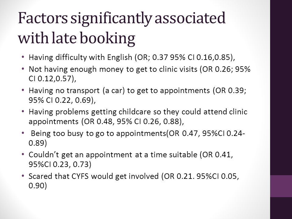 Factors significantly associated with late booking Having difficulty with English (OR; 0.37 95% CI 0.16,0.85), Not having enough money to get to clinic visits (OR 0.26; 95% CI 0.12,0.57), Having no transport (a car) to get to appointments (OR 0.39; 95% CI 0.22, 0.69), Having problems getting childcare so they could attend clinic appointments (OR 0.48, 95% CI 0.26, 0.88), Being too busy to go to appointments(OR 0.47, 95%CI 0.24- 0.89) Couldn't get an appointment at a time suitable (OR 0.41, 95%CI 0.23, 0.73) Scared that CYFS would get involved (OR 0.21.
