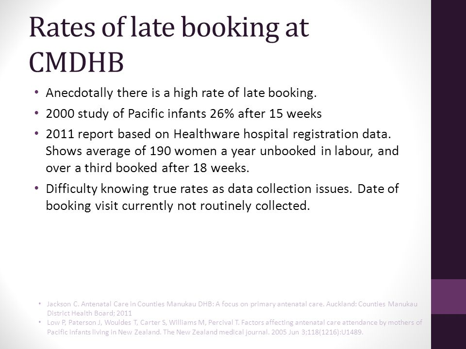 Rates of late booking at CMDHB Anecdotally there is a high rate of late booking.